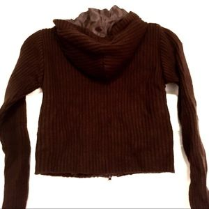 Say What? Shirts & Tops - Say What? Brown Suede Front, Sweater Back Jacket